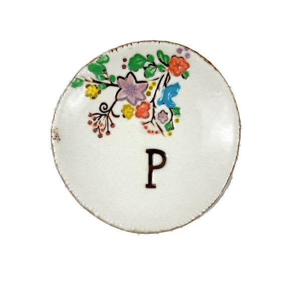 Anthropologie Trinket Dish Ring Floral Letter P
